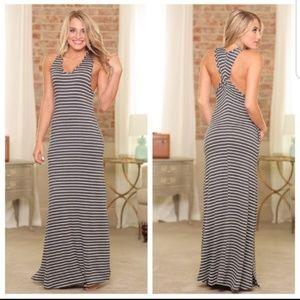Charcoal striped twist back maxi dress